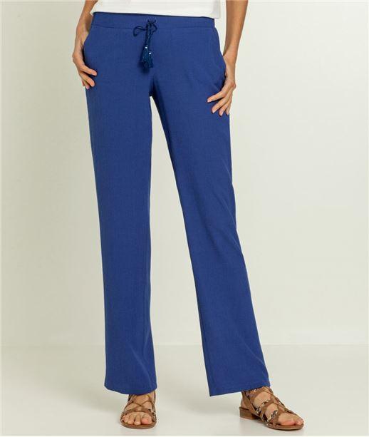 Pantalon femme taille élastiquée fluide INDIGO