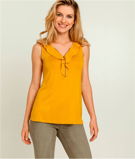 T-shirt femme débardeur volants et zip SAFRAN