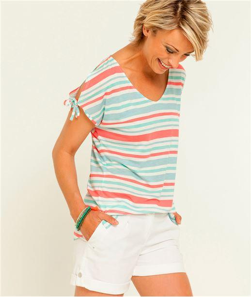T-shirt femme rayé multicolore MULTICOLORE