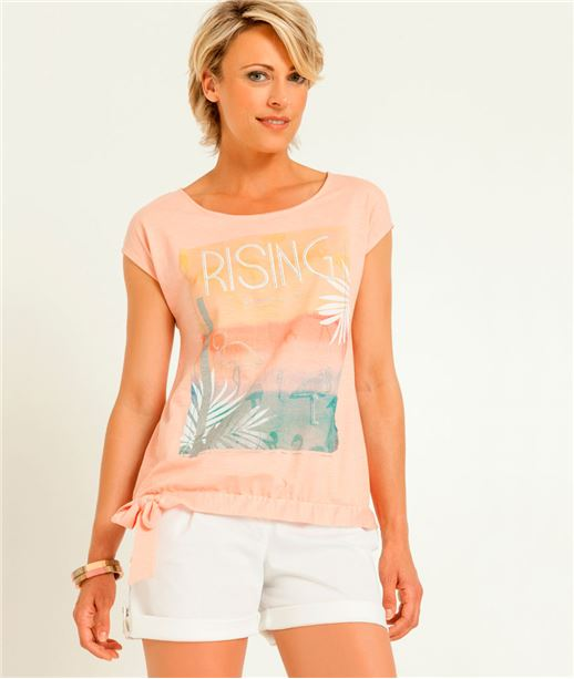 T-shirt femme flamant rose + message ABRICOTINE