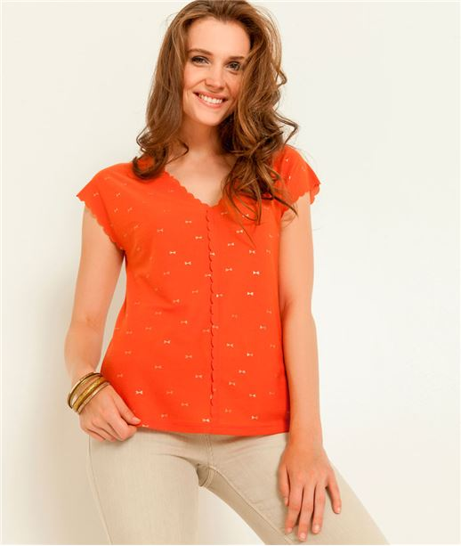 T-shirt femme col V motif irisé ORANGE