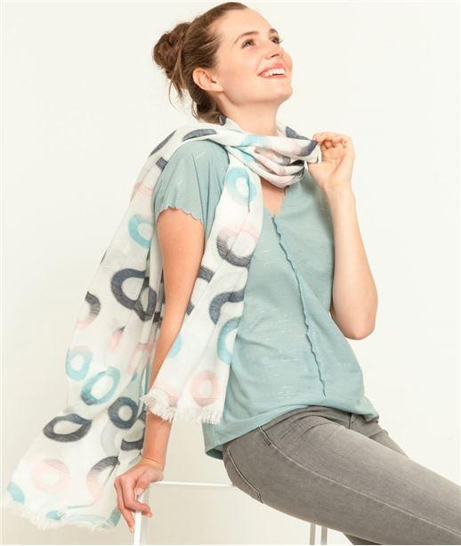 T-shirt femme col V motif irisé OPALE