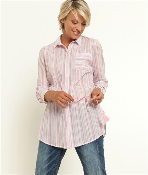 Chemise femme longue rayée ROSE