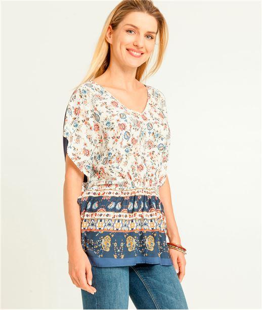 T-shirt femme imprimé fleurs kimono ECRU