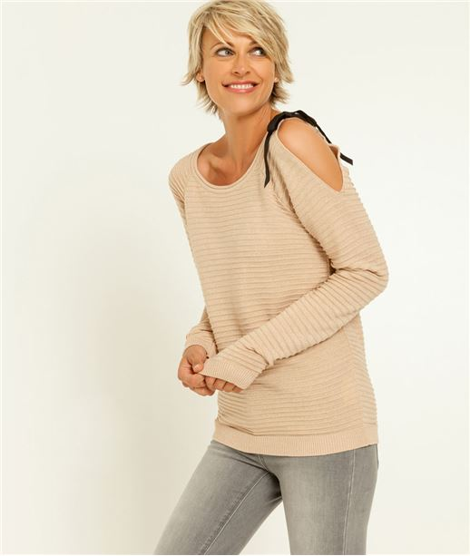 Pull femme maille irisée + noeud ROSE