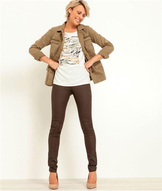 T-shirt femme imprimé sequins ECRU