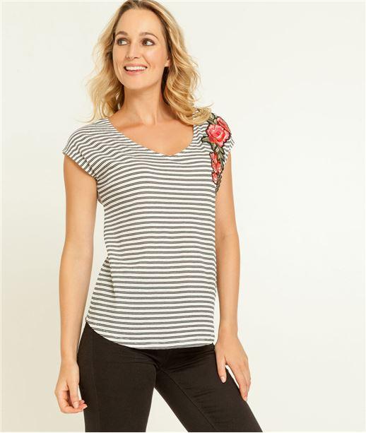 T-shirt femme rayé et brodé fleurs ECRU