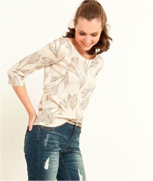 T-shirt femme imprimé plumes BEIGE