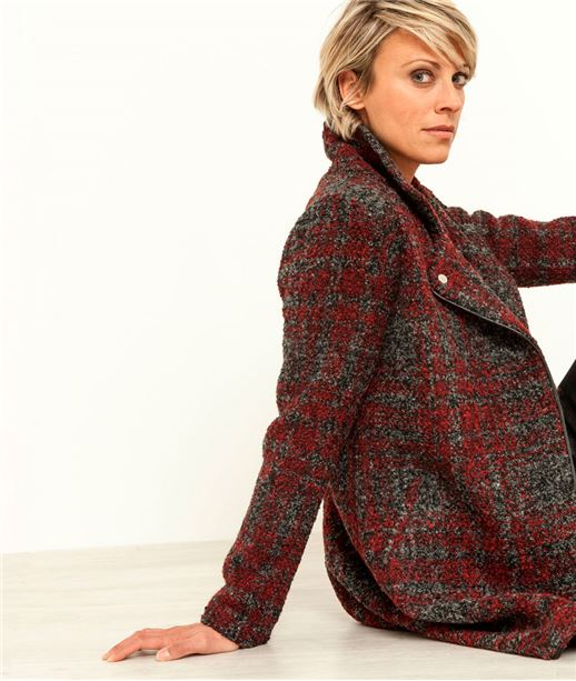 Manteau femme style perfecto ROUGE