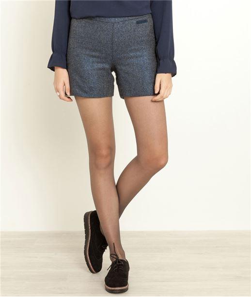 Short femme habillé avec laine MARINE