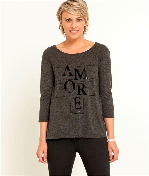 T-shirt femme à message GRIS