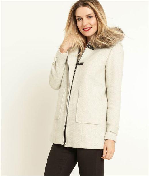 Manteau femme laine et fausse fourrure. GRIS