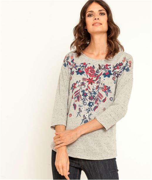 T-shirt femme broderie fleurs GRIS