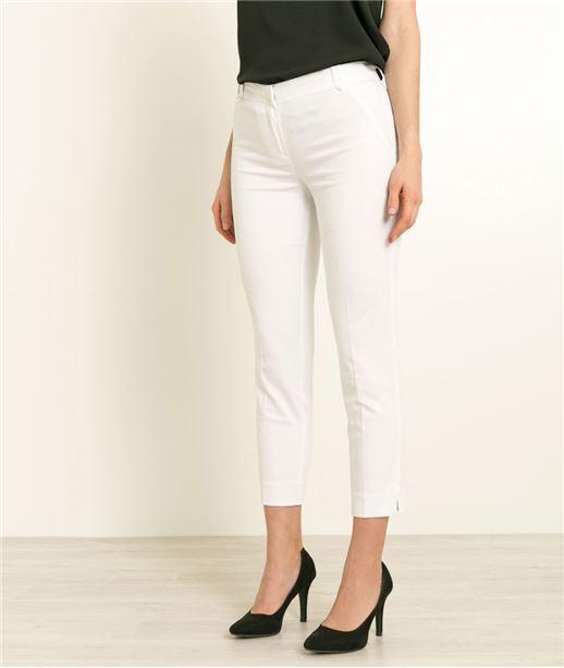 Pantalon femme 7/8 satin de coton BLANC