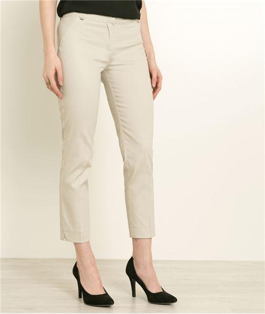Pantalon femme 7/8 satin de coton BEIGE