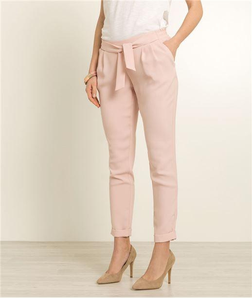 Pantalon femme fluide ceinture fantaisie ROSE