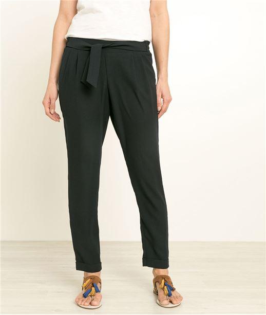 Pantalon femme fluide ceinture fantaisie MARINE