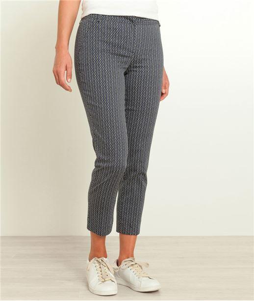 Pantalon femme satin de coton imprimé NOIR