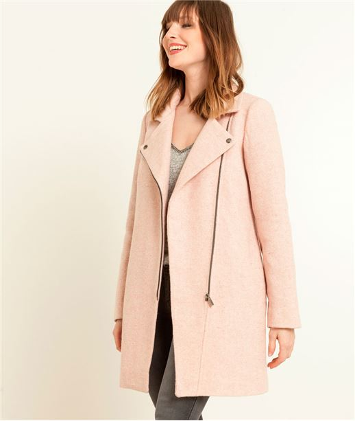 Manteau femme style perfecto rose ROSE