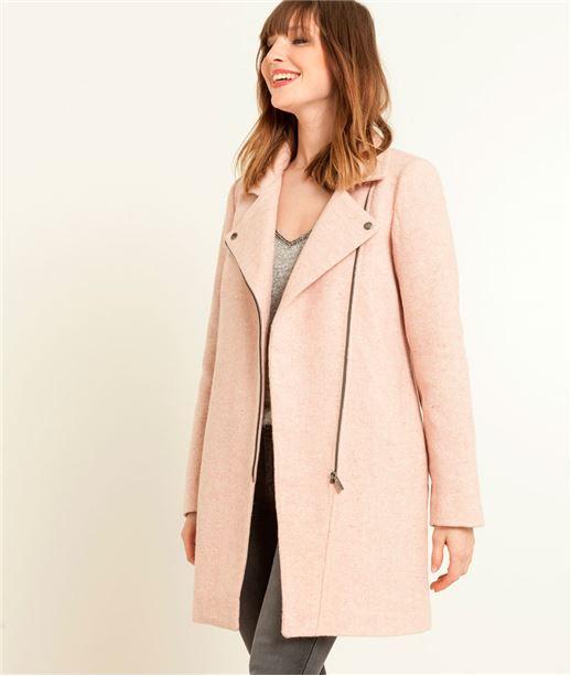 Manteau femme style perfecto rose ROSE