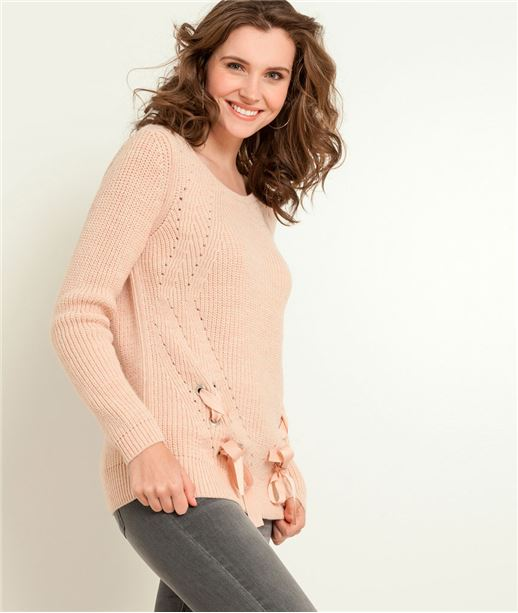 Pull femme maille chenille ROSE