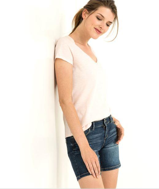 T-shirt femme uni manches courtes ROSE