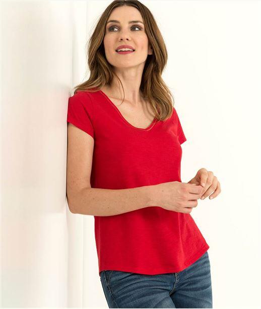 T-shirt femme uni manches courtes ROUGE