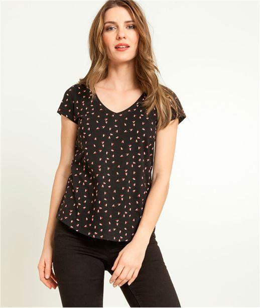 T-shirt femme manches courtes imprimé NOIR
