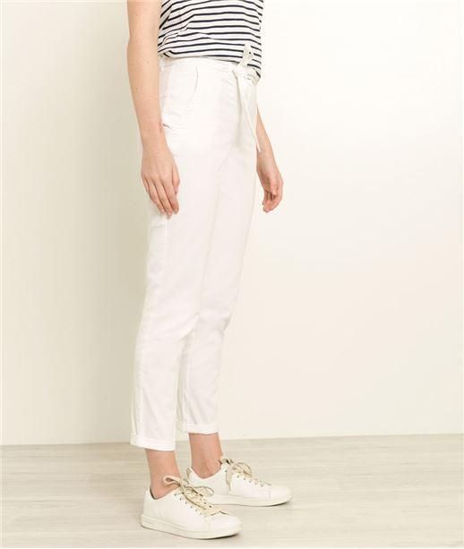 Pantalon femme chino ceinturé BLANC