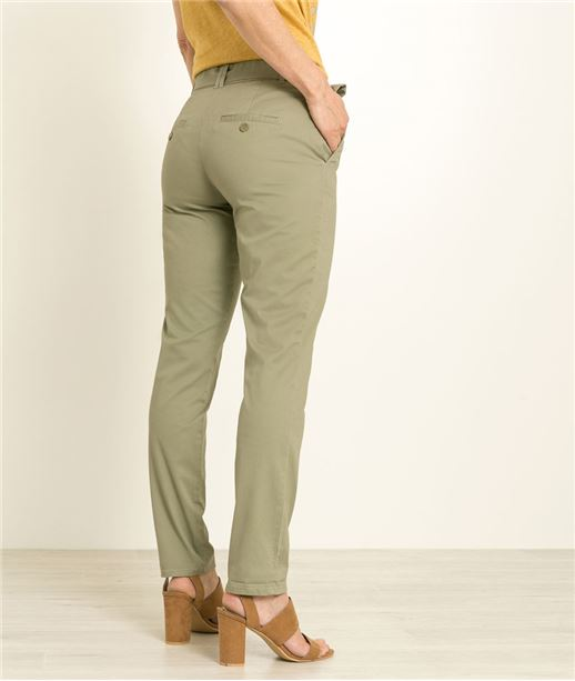 Pantalon femme chino ceinturé KAKI