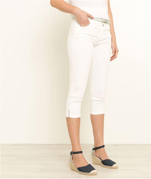 Corsaire femme en jean couleurs BLANC