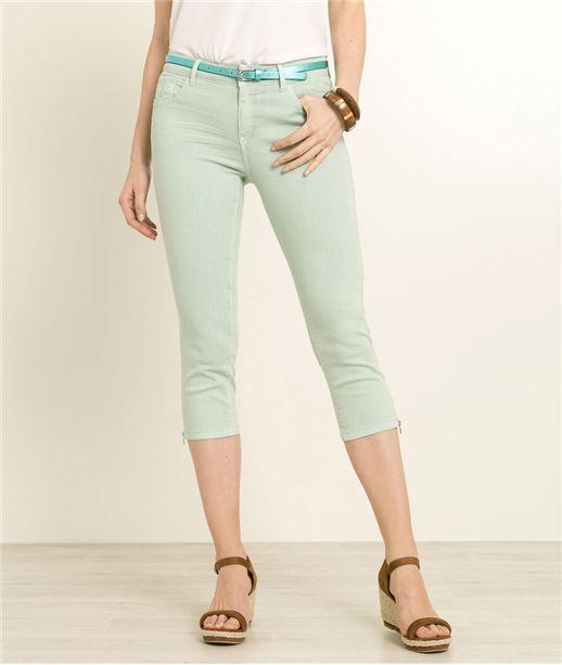 Corsaire femme en jean couleurs VERT
