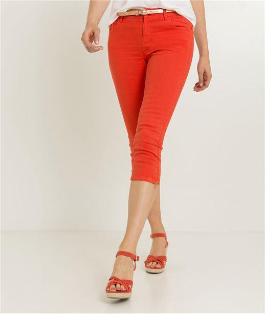 Corsaire femme en jean couleurs TANGERINE