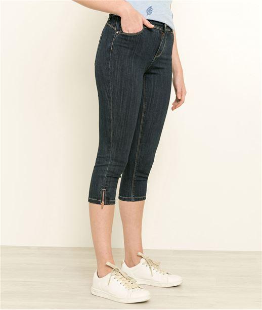 Corsaire femme en jean avec zip BRUT