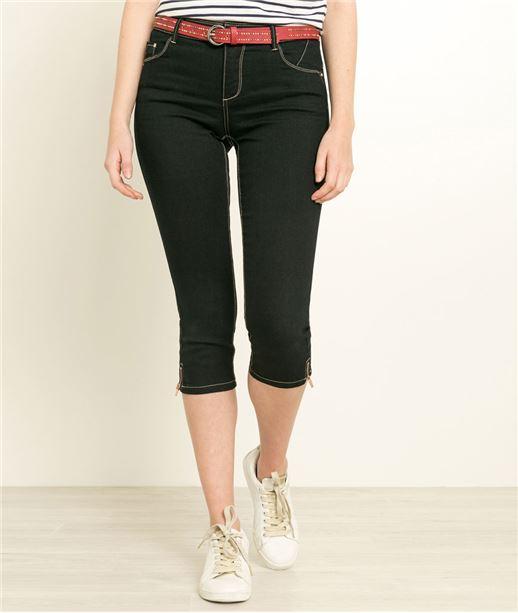 Corsaire femme en jean avec zip BLUE BLACK