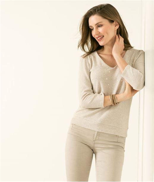 T-shirt femme col V et perles BEIGE