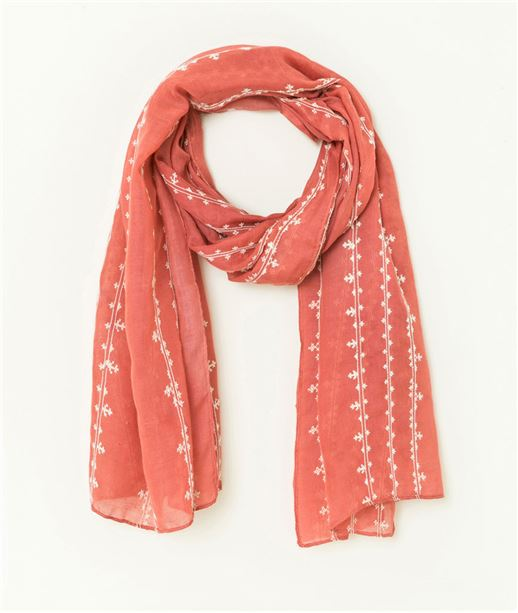 Foulard femme broderie ancres marines ROUGE