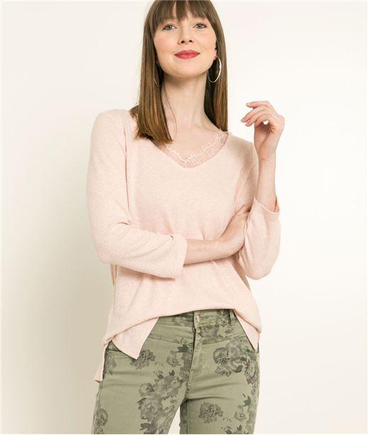 T-shirt femme col dentelle ROSE