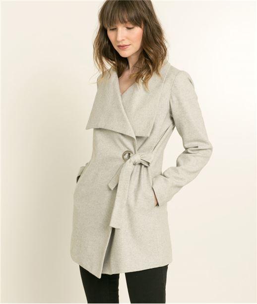 Manteau femme en laine GRIS CLAIR