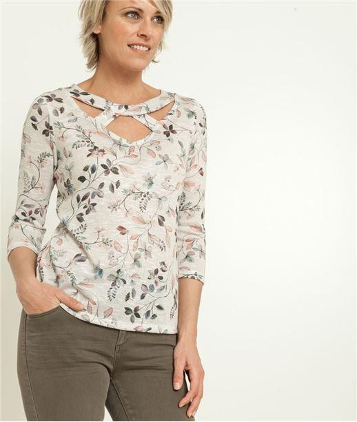 T-shirt femme encolure croisée ECRU