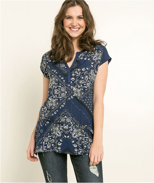 T-shirt femme imprimé bandana MARINE