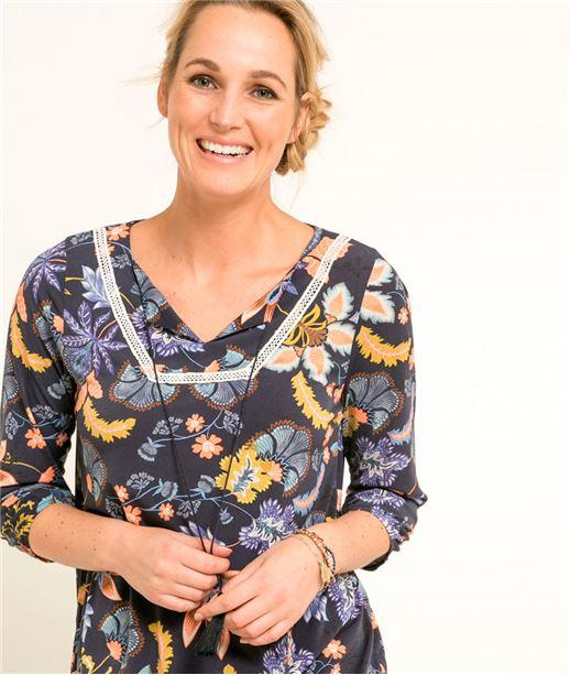 T-shirt femme imprimé floral MARINE