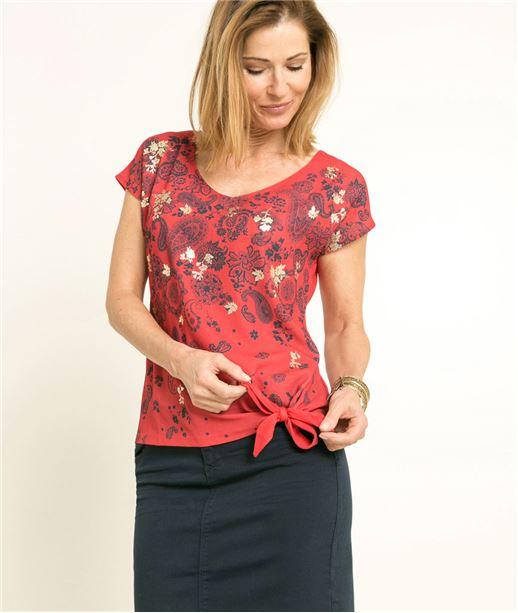 T-shirt femme imprimé bandana ROUGE