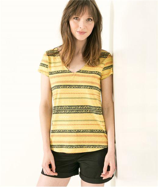 T-shirt femme imprimé dos en V SAFRAN