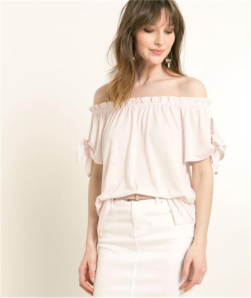 T-shirt femme encolure Bardot ROSE