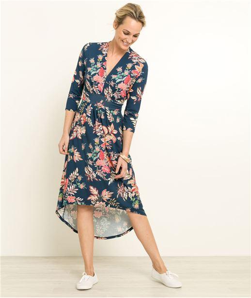Robe femme longue imprimée fleurs BLEU