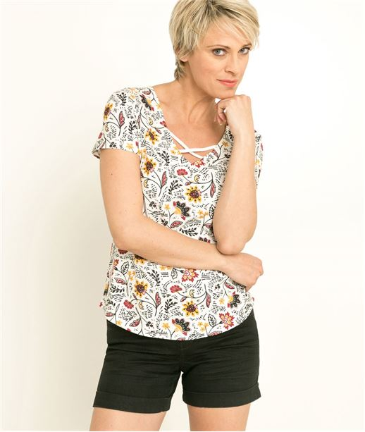 T-shirt femme imprimé manches courtes BLANC