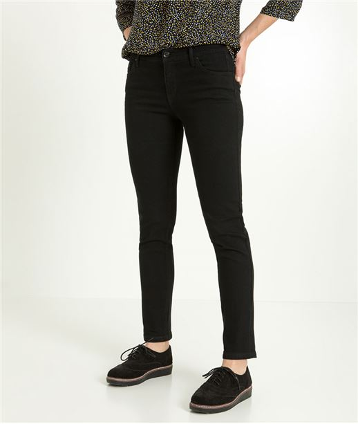 Pantalon raccourci femme denim stretch BLACK