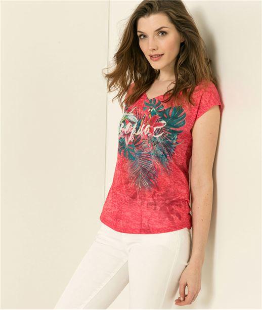T-shirt femme rose tropical ROSE