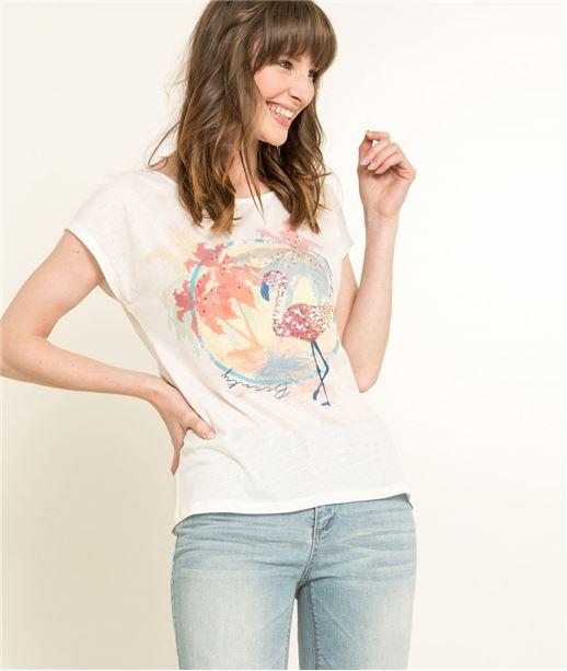 T-shirt femme blanc flamant rose BLANC